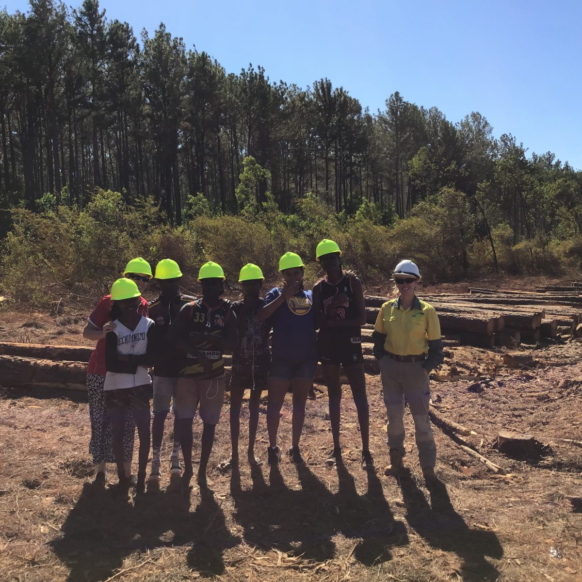 Students from Xavier Christian College visiting a forestry site on Melville Island.