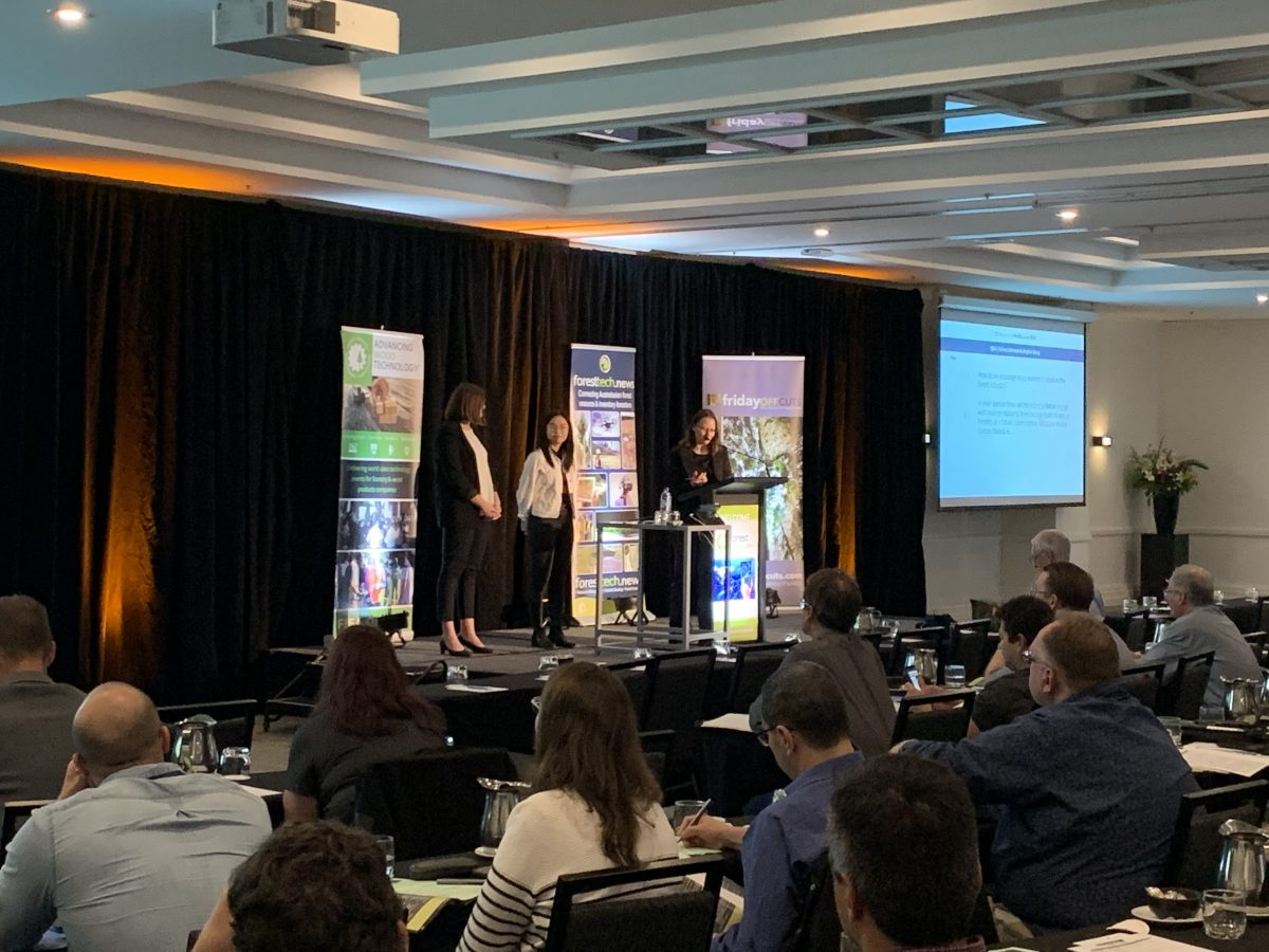 Jinglan and Kelsey speaking at the ForestTECH Conference.