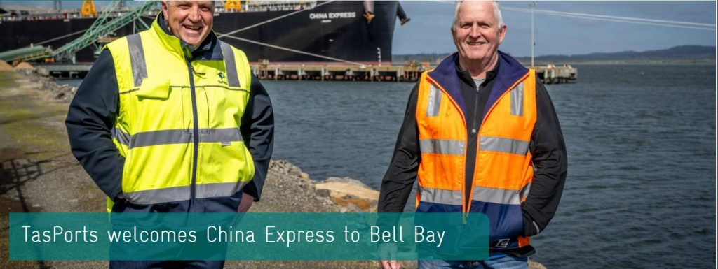 TasPorts General Manager Logistics Nigel Foss and Midway Limited Managing Director & CEO Tony Price, at the Port of Bell Bay, with caption TasPorts welcomes China Express to Bell Bay.